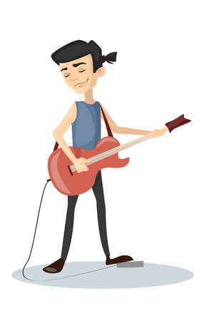 cute: Man plays rock.