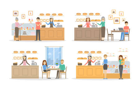 Bakery cafe set. Illustrations of bakery with visitors and pastry on white background.