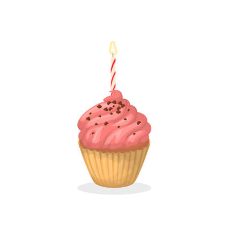 Isolated pink birthday cupcake with chocolate sprinkles and candle on white background. Illustration