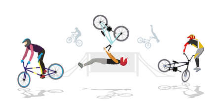 BMX park set. Silhouettes of people on bmx with helmet on white background. Illustration
