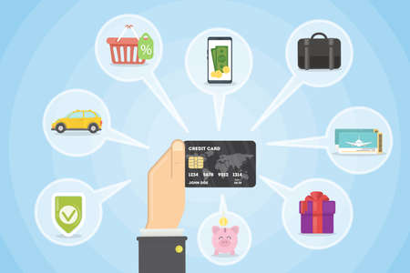 Buying with credit card. Vectores