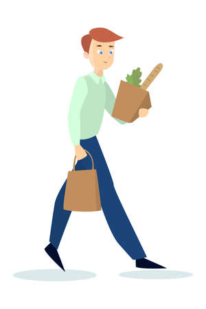 cute: Man with groceries.