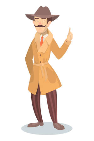 business graphics: Isolated funny detective. Illustration