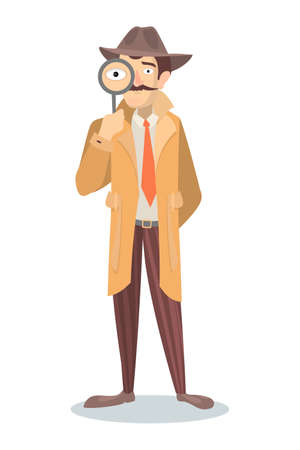 Detective with glass. Illustration