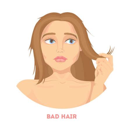 Femme avec de mauvais cheveux. Banque d'images - 84747771