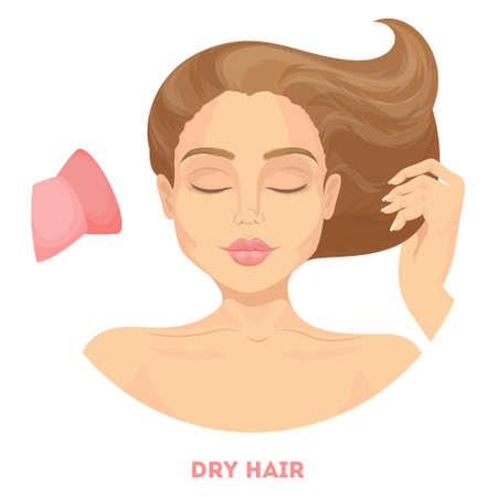 Woman drying hair. Illustration