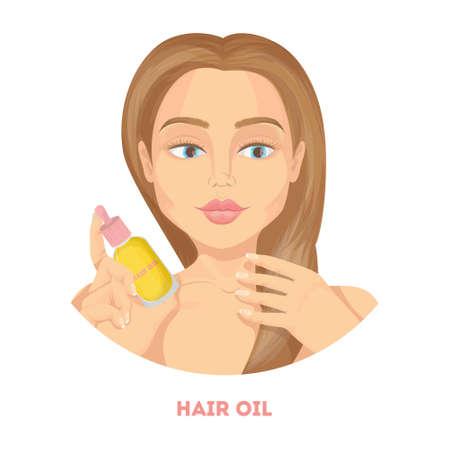 Woman with hair oil. Ilustração