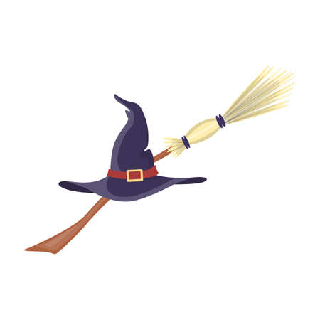 Witch hat and broom.