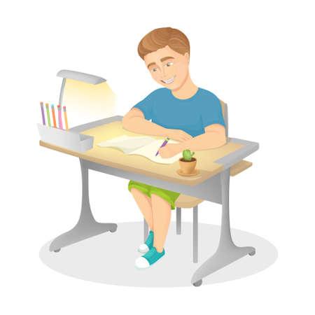 Boy does homework.