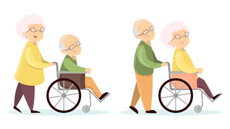 invalid: Old senior couples. Illustration