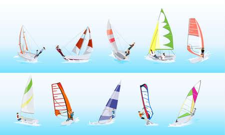 Windsurfing sport set. Ilustração