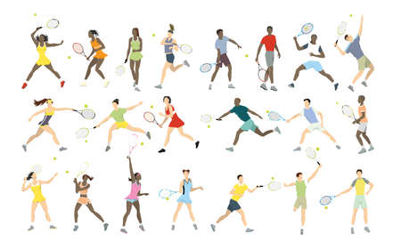 Tennis athletes set.