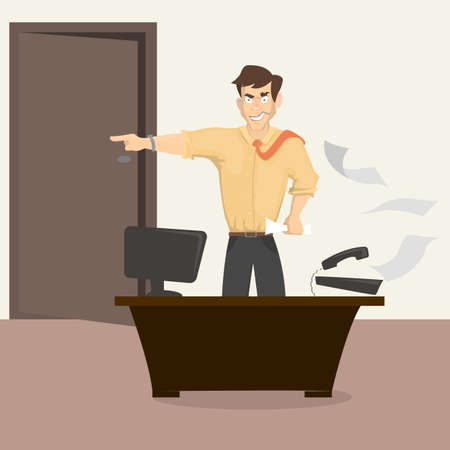 Angry boss in office icon.