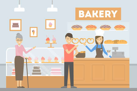 People at bakery. Visitors buying bread, cakes or pastry. Illustration
