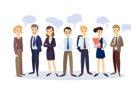 Business people with speech bubbles. Men and women in suits.