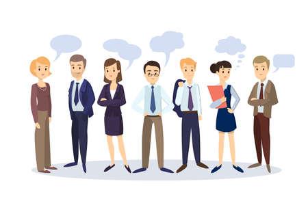 Uomini d'affari con fumetti. Uomini e donne in giacca e cravatta.