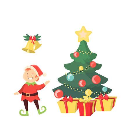 enano: Árbol de Navidad con duende y campanas sobre fondo blanco. Vectores