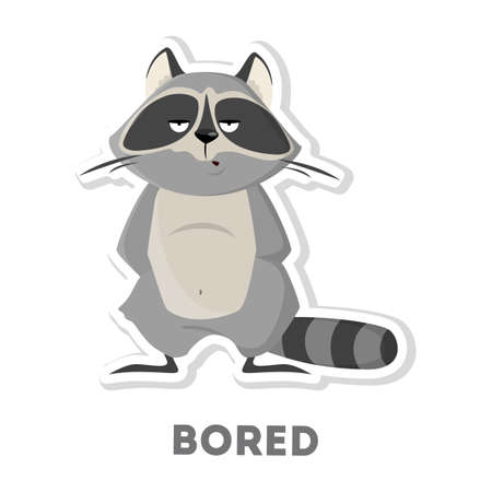 Isolated bored raccoon on white background. Funny cartoon character.
