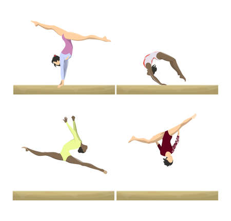 Gymnasts with balance beam set. Women athletes in uniform.