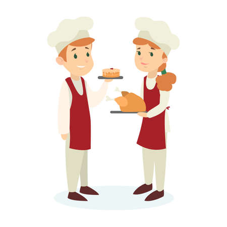 Isolated chef couple in uniform and hat with meals on white background. Illustration
