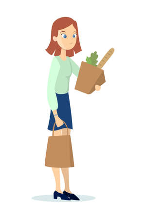 Isolated woman with groceries on white background. Woman holding bags with food.