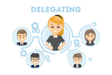 Delegating business illustration.