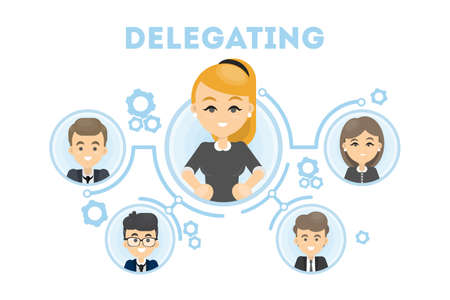 delegation: Delegating business illustration.
