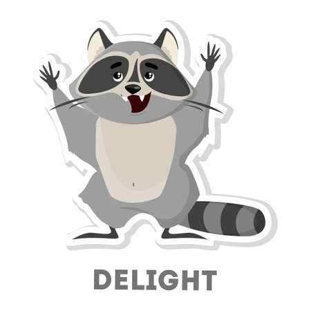 Isolated delightful raccoon on white background. Funny cartoon character. Illustration