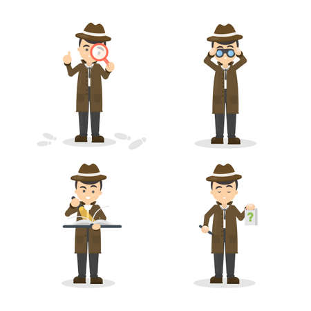 Cartoon detective set illustration. Stock Illustratie