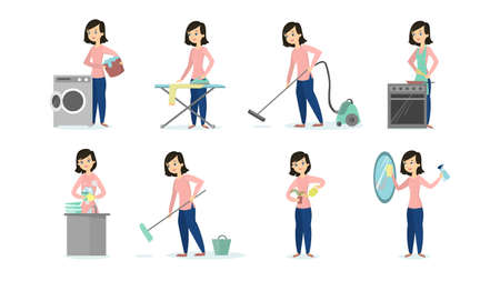 Woman doing household chores on white background. Cleaning and ironing, cooking and vacuum cleaning.