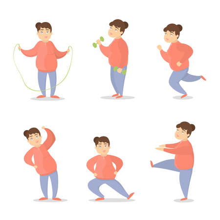 Fat woman training set. Exercises for obese people. Illustration