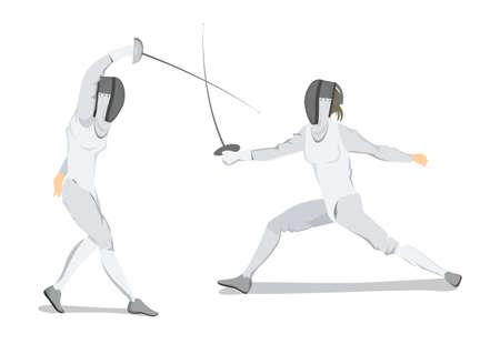 Geïsoleerde schermende atleet op witte achtergrond. Atleet in witte outfit met masker en zwaard.