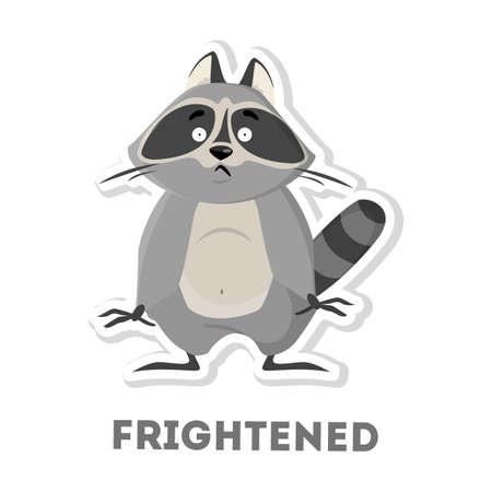 Isolated frightened raccoon on white background. Funny cartoon animal.