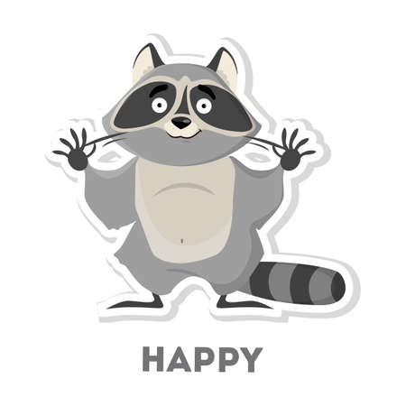 Isolated happy raccoon on white background. Funny cartoon character.