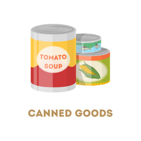 Canned goods set on white background. Tomato soup, corn and tuna fish.