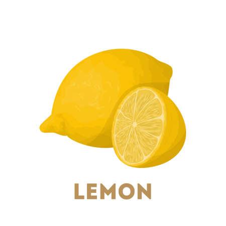 Isolated lemons with slice on white background.