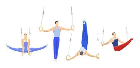 Gymnastics with rings set. Athletes in uniform.