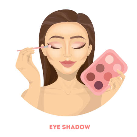 Applying eye shadow. Woman does make up. Illustration