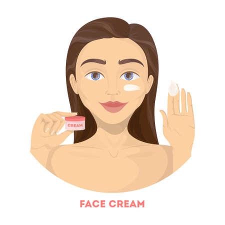 Applicare crema viso. La donna compone.