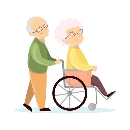 Old senior couple. Husband with wife on wheelchair. Illustration