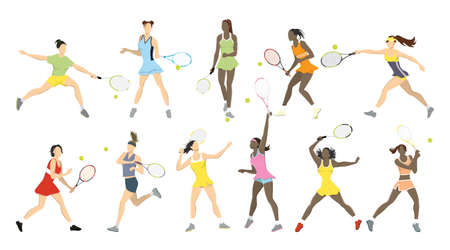 Set of Tennis athletes illustration.