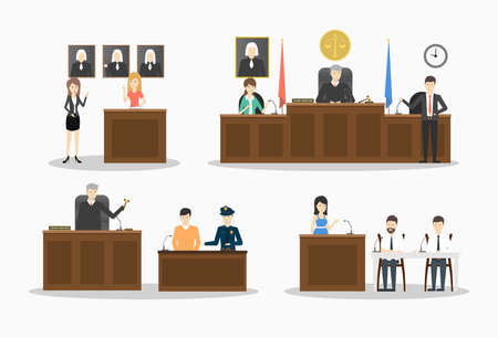 Court illustrations set. Illustration