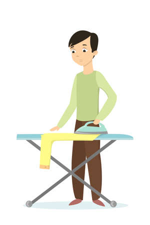 guy standing: Isolated man ironing clothes.