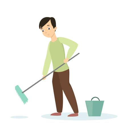 Isoilated man cleaning floor.