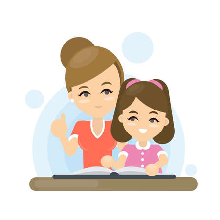 La madre enseña la lección a su hija. Ilustración de vector