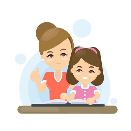 Mutter lehrt Tochter Tochter. Standard-Bild - 85585623