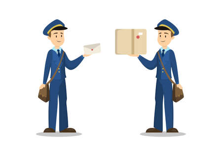 Isolated postmen with parcel box and envelope. Illustration