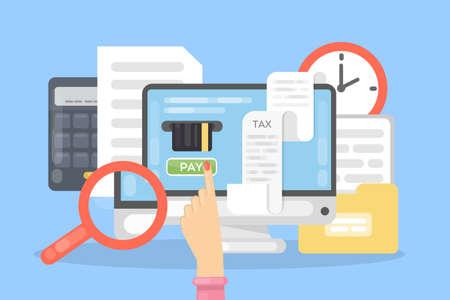 Płatność podatku online za pomocą komputera. Ilustracje wektorowe