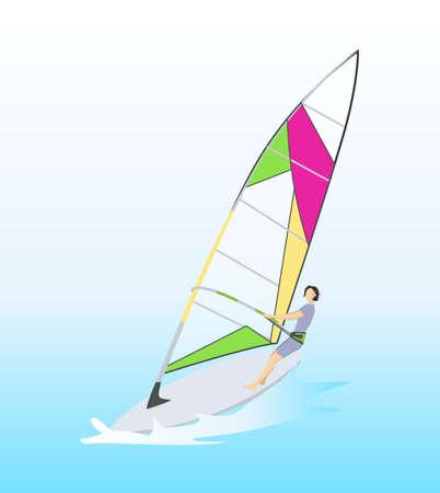 guy standing: Isolated windsurf in ocean. Illustration