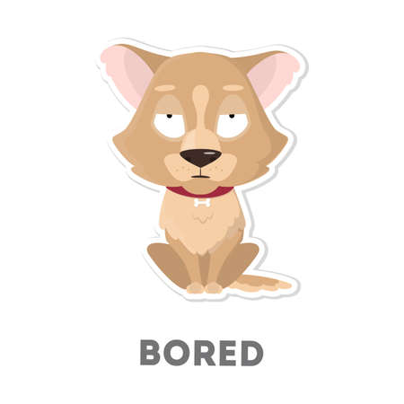 Isolated bored dog on white background. Funny cartoon character.